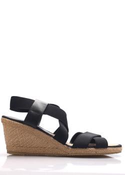 aa9a40f15c31 Černé sandály na slaměném klínku